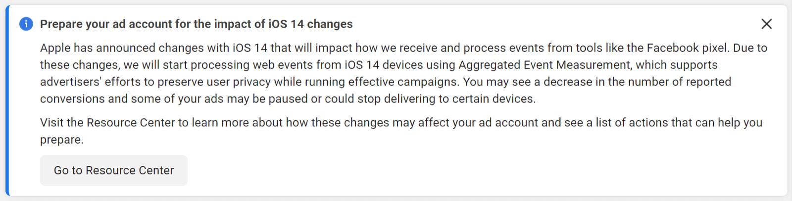 Facebook iOS 14.5 Notice